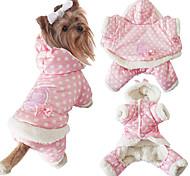Собака Комбинезоны Одежда для собак На каждый день Сохраняет тепло Горох Бежевый Розовый
