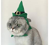 Кошка Банданы и шляпы Одежда для собак Для вечеринки Сплошной цвет Зеленый
