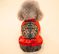 Собака Плащи Одежда для собак Новый год Геометрические линии Желтый Красный