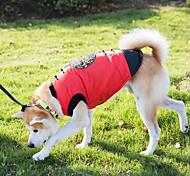 Собака Жилет Одежда для собак Новый год Вышивка Красный