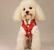 Собака Костюмы Одежда для собак Рождество Новый год Вышивка Красный Синий