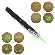 Pennformad grön laserpekare med fem mönster (5mW, 532nm, 2xAAA)