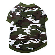 Hundar T-shirt Grön Hundkläder Sommar Vår/Höst Kamouflage Mode