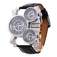 Oulm Herren Militäruhr Armbanduhr Quartz Japanischer Quartz Drei-Zeit-Zonen Leder Band Schwarz Schwarz Schwarz/weiss
