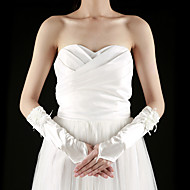 Könyökön felül Ujjatlan Kesztyű Szatén Menyasszonyi kesztyűk Tavasz Nyár Ősz Tél Rátétes Fodor