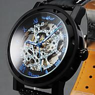 WINNER Męskie Zegarek na nadgarstek zegarek mechaniczny Mechaniczny, nakręcanie ręczne Grawerowane Skóra Pasmo Ekskluzywne CzarnyWhite