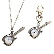 Unisex Guitar Style Alloy Analog Quartz Keychain Necklace Watch (Bronze)