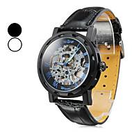 manuel boîtier creux bande noire PU analogique montre-bracelet mécanique des hommes (couleurs assorties)