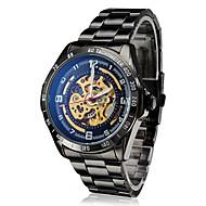SHENHUA Herre Mekanisk Klokke Armbåndsur Automatisk selvopptrekk Hul Inngravering Rustfritt stål Band Luxury Svart