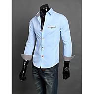 Men's Solid Work Shirt Long Sleeve Black / Blue / White