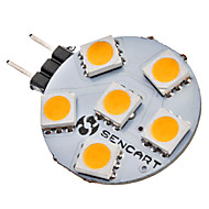 G4 1W 6x5050SMD 70-75LM 3000-3500K Warm White Light LED Spot Bulb (12V)