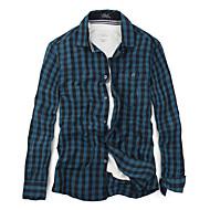Men's Slim Fit Shirt Collar Long Sleeve Casual Vintage Cotton Plaid Shirts