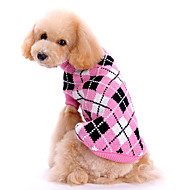 Hunde - Winter - Wollen - Schottenmuster - Rosa - Pullover - XS / M / XL / S / L