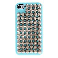 Prata pontas rebites Coberto Hard Case com cola para iPhone 4/4S (cores sortidas)