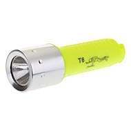 Single-Mode Cree XM-L T6 LED Diving Flashlight (1000LM, 1x18650, Yellow+Silver)