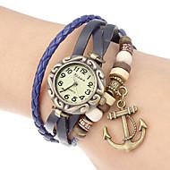 Frauen Anker Anhänger Lederband Quarz Analog Armband Uhr (verschiedene Farben)