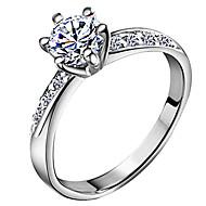 Dames Bandringen Liefde Bruids Klassiek Kostuum juwelen Zirkonia Verzilverd Zes punten Sieraden Voor Bruiloft Dagelijks