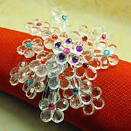 Hydrangea Akryl Pärlor Servett Ring, Dia4.2-4.5cm Set med 12