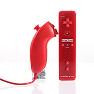 2-i-1 MotionPlus fjernbetjening og Nunchuk + etui til Wii/Wii U (Rød)