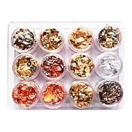 12PCS Mixed Color Foil Nail Art Decoration Golden Silver Colorful Foil