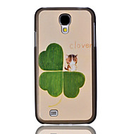 Clover and Cat Embossment Painting Pattern Plastic Hard Back Case Cover for Samsung Galaxy S4 I9500