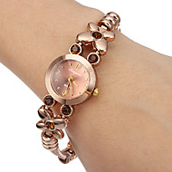 Women's Little Round Dial Diamante Flower Alloy Band Quartz Analog Wrist Watch