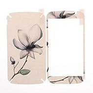 Blomstermønster Front og Back læder skærmbeskytter Klistermærker til Samsung Galaxy Grand Duos i9082