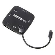 OTG USB Hub ja Menory kortinlukija (Musta)