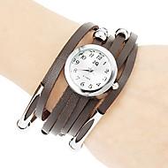 Kvinnors Little Round Dial Pu Band Quartz analog armbandsur (blandade färger)