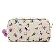 Quadrate Fresh Small Lilla blomstermønster med fnug Balls Make up / kosmetik taske Kosmetik Opbevaring