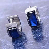 フープピアス ステンレス鋼 チタン鋼 模造ダイヤモンド ブルー ジュエリー のために 日常 クリスマスギフト