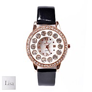 Personlig gave til kvinder White Dial Sort PU Band Analog Graveret Watch med Rhinestone