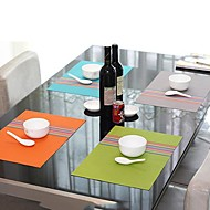 Fashion Style Απλά Ποικιλία χρωμάτων Ριγέ Σουπλά για το δείπνο, L45cm x Π 30 cm, ανθεκτικό στη θερμότητα PVC