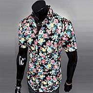 Men's Print Casual Shirt,Cotton Blend Short Sleeve Black / Blue / Green / Red