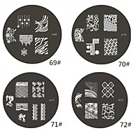 1 Piece M Series Rounded Abstract Design Nail Art Stamp Stamping Image Template Plate NO.69-72(Assorted Pattern)