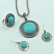 Vintage Tibetan Alloy Antique Silver Turquoise (Include Necklace & Earring & Adjustable Ring) Jewelry Set (Green)