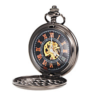 Men's Mechanical Simple Black Alloy Pocket Watch Cool Watch Unique Watch