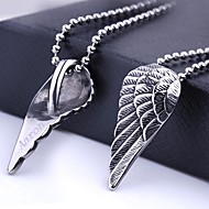 Personalized Gift Wing Shapes Stainless Steel Jewelry Engraved Pendant Necklace with  60cm Chain