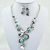Vintage Antique Silver Turquoise with Crystal (Include Necklace and Earring) Jewelry Set (Green)