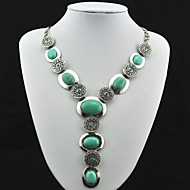Vintage Antique Silver Turquoise with Crystal Pendant Necklace(Green)(1 Pc)