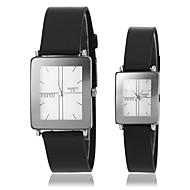 Couple's Square Dial Black Rubber Band Quartz Wrist Watch (Assorted Colors)