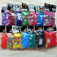 colorido del arco iris bolsa de banda de caucho pulsera tejido telar (600 pcs bandas + 24 PC c o s Clips + 1 gancho)
