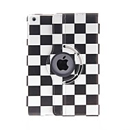 Kinston 360 Degree Rotatable Black And White Squares Pattern PU Leather Full Body Case with Stand for iPad Air