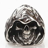 指輪 スカル 日常 クリスマスギフト ジュエリー チタン鋼 バンドリング7 8 9 10 11 12 ブラック