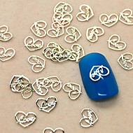 200PCS Love Heart Design Slice Metal Nail Art Decoration