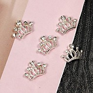 10pcs Tiny Sliver Crown Rhinestones 3D Alloy Nail Art Decoration