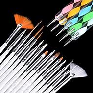 15pcs מברשת ציפורניים אמנות משובצת 5pcs מנקדים כלי