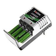 chargeur de batterie Soshine pour aa/aaa/9v/ni-mh/ni-cd avec prise UE (4xAAA inclus)