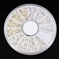 1200szt mix rozmiarów biały&paznokci koła słoniowa perła sztuki dekoracji