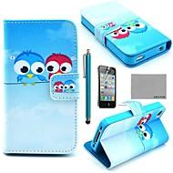 COCOファン®スクリーンプロテクターかわいいフクロウ柄PUレザーフルボディケースは、iPhone 4/4S用スタンドとスタイラス